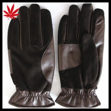 Stylish Black suede and brown leather gloves men