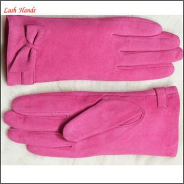 high quality girls in fashion suede navy blue leather gloves with bow