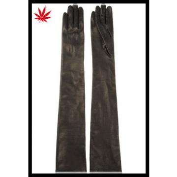 Ladies very long black leather gloves with three lines