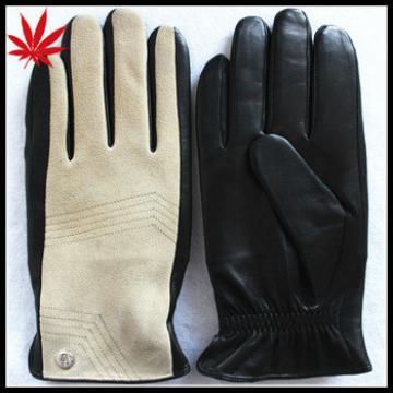 Gentleman fashion pigskin and suede leather gloves
