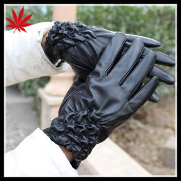 Women leather dressing gloves with Kevlar lined and wrinkle effect cuff
