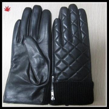 women sexy warm winter wearing knitted cuff embroidery leather glove