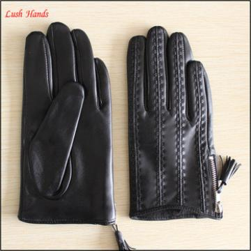 Ladies short leather gloves with side zipper