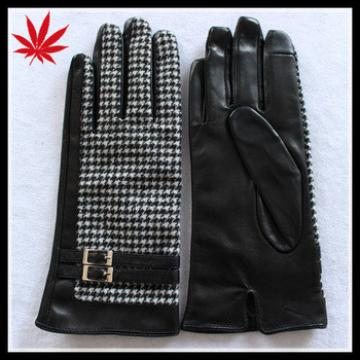 Cheap leather smart phone gloves with cloth fabric