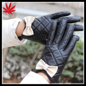 Girl's gloves leather with cute bow from China
