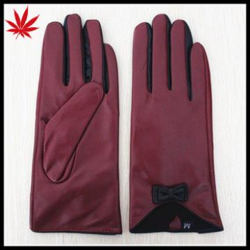Dark red bow cuff fashion thinsulate ladies lambskin leather gloves