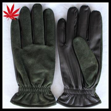 Men's cheap sheepskin leather and dark green suede leather gloves