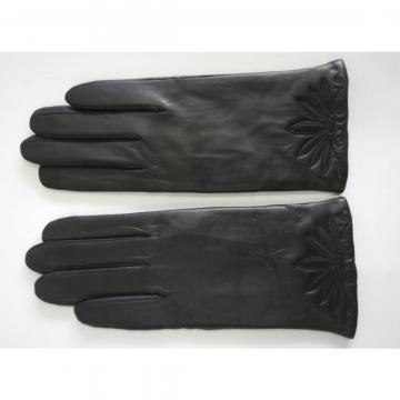 Black leather gloves for women