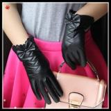 women fashion black patent leather glove with bow