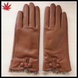 Lady fashion new style rabbit genuine fur cuff leather gloves