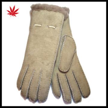 Women soft fashion double face fur lined leather gloves