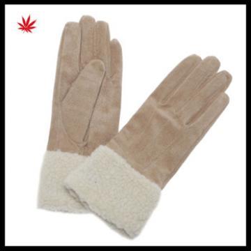 Women fashion double face sheepskin leather lamb fur gloves