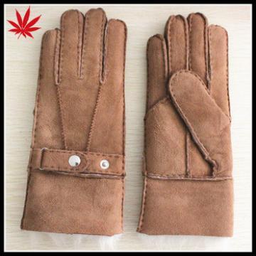 Hand made double face ladies sheepskin gloves mitten