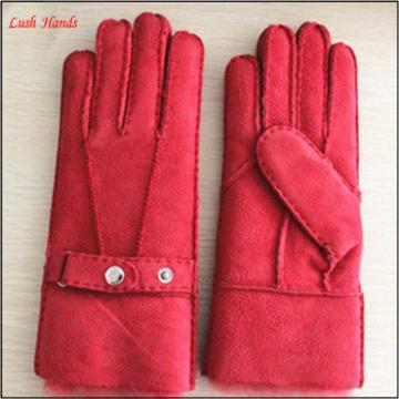 Ladies fashion and warm double face sheepskin gloves