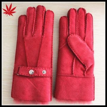 Mitten red lamb fur ladies sheepskin double face gloves