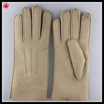 women simple style basic wram double face leather glove