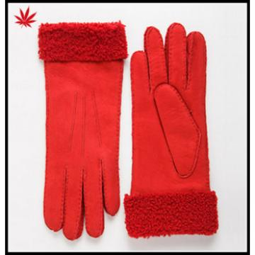 Fashion women 's Red /brown/grey double face glove