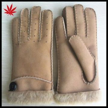 Women soft fashion double face fur lined leather gloves with button