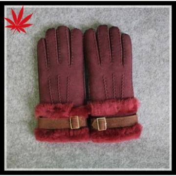china wine red color girls double face or Sheepskin wool-one gloves with buckle