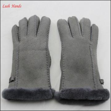 ladies warm winter double face grey hand gloves