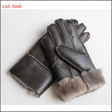 2016 winter men's brown warm double face hand gloves for wholesale