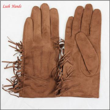 Sexy women leather fashion faux suede glove with tassels