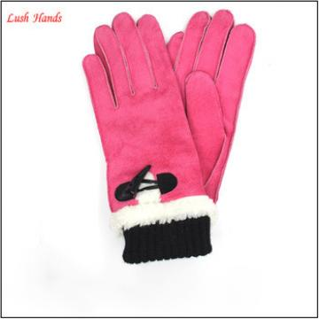 The new style knit cuff gloves keeping warm in winter daily leather gloves