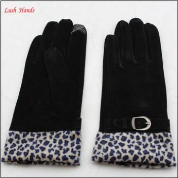 women fashion lamb suede gloves finger touch gloves