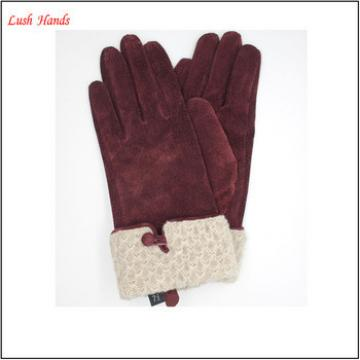 Simple style women wearing pig suede leather gloves