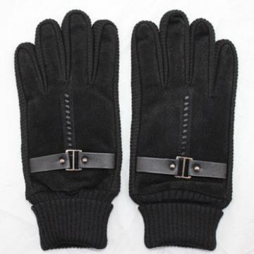mens wholesale price pig suede leather hand gloves with knitting