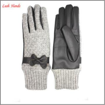 Ladies warm leather gloves with knit cuff and sewings women bowknot gloves