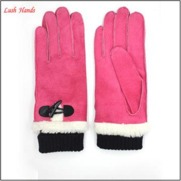 ladies and gril pink gift sheepsuede leather gloves with knit wrist lining polyester