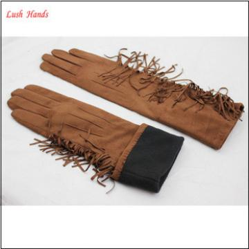 ladies suede brown long leather hand gloves with tassel