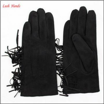 2016 ladies winter black suede leather hand gloves with tassel
