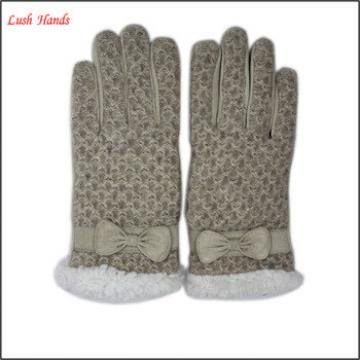 2016 Hot Selling Ladies Classical Suede beautiful Leather Gloves with bow