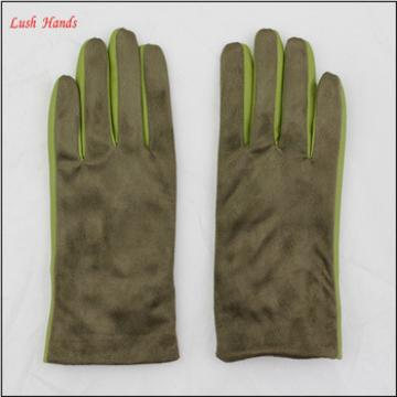 Genuine winter suede leather working gloves for women