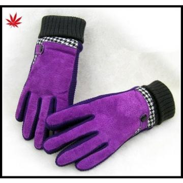 Women's pigsuede leather gloves with kintted cuff