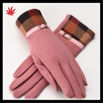 2016 women's stylish suede gloves with checker cuff