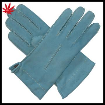 Women cashmere lined baby blue suede leather gloves with contrast thread