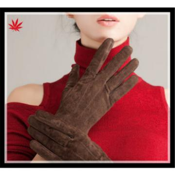 Ladies hot selling simple suede gloves with wholesale price