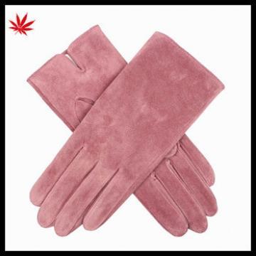 Lady's pink /grey genuine sheepskin suede gloves