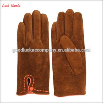 Ladies touch screen Brown pigsuede gloves with button details