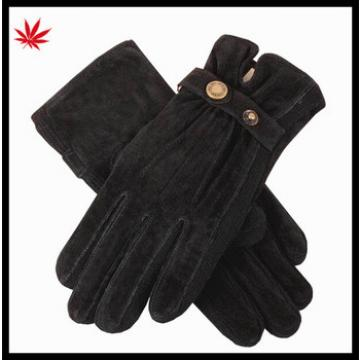 Black pig suede leather gloves women with acrylic knitted side