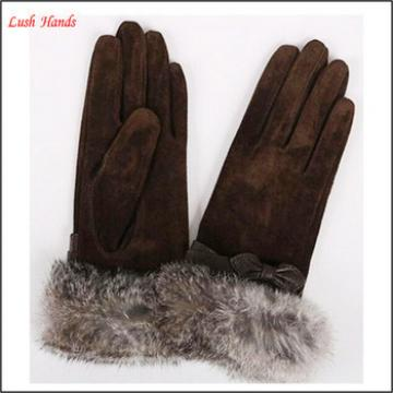 Ladies OEM suede leather gloves with fur cuff