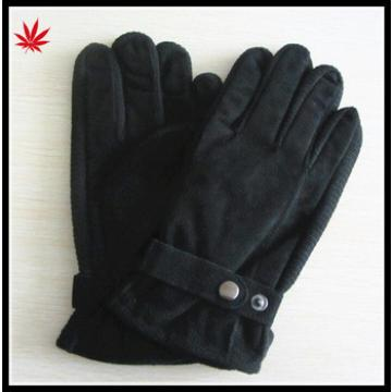 Black pig suede leather gloves man with acrylic knitted side