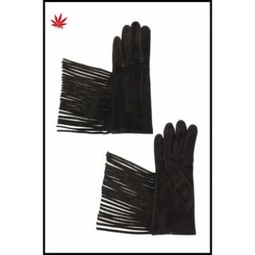 ladies winter fashion suede leather gloves with tassel