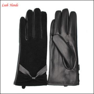 winter wholesale fashion dress sheepsuede and leather women's glove