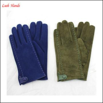 Women's customized color and style pigsuede leather gloves