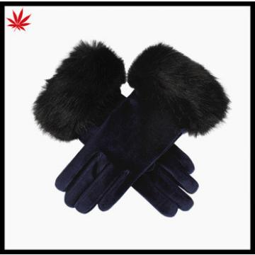 Ladies new style pig suede leather gloves with fur