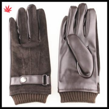Brown suede mens leather gloves with leather palm